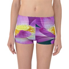 Pink Lotus Flower Reversible Boyleg Bikini Bottoms