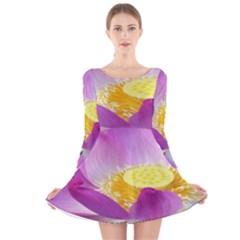 Pink Lotus Flower Long Sleeve Velvet Skater Dress