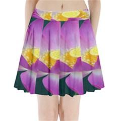 Pink Lotus Flower Pleated Mini Skirt