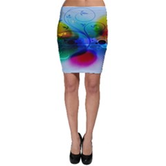 Abstract Color Plants Bodycon Skirt
