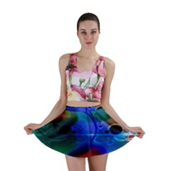 Abstract Color Plants Mini Skirt