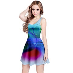 Abstract Color Plants Reversible Sleeveless Dress