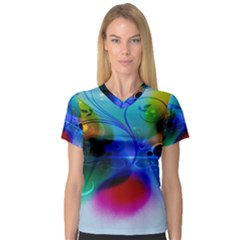 Abstract Color Plants Women s V Neck Sport Mesh Tee
