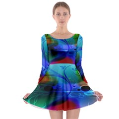 Abstract Color Plants Long Sleeve Skater Dress