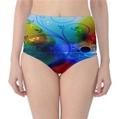 Abstract Color Plants High-Waist Bikini Bottoms