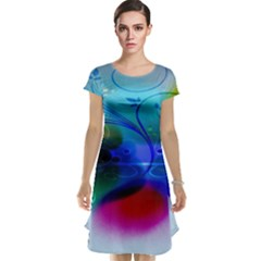 Abstract Color Plants Cap Sleeve Nightdress