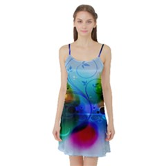 Abstract Color Plants Satin Night Slip