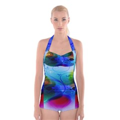 Abstract Color Plants Boyleg Halter Swimsuit