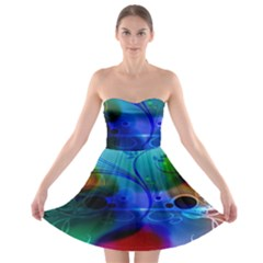 Abstract Color Plants Strapless Bra Top Dress