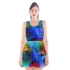 Abstract Color Plants Scoop Neck Skater Dress