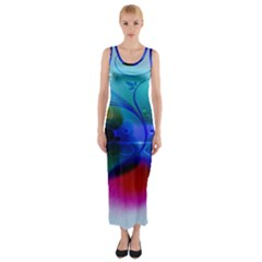 Abstract Color Plants Fitted Maxi Dress