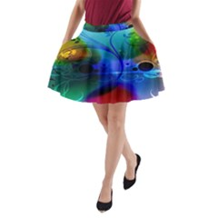 Abstract Color Plants A-Line Pocket Skirt