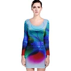 Abstract Color Plants Long Sleeve Velvet Bodycon Dress