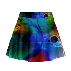Abstract Color Plants Mini Flare Skirt