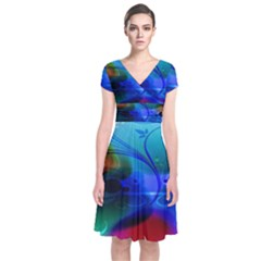 Abstract Color Plants Short Sleeve Front Wrap Dress