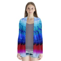 Abstract Color Plants Drape Collar Cardigan