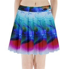 Abstract Color Plants Pleated Mini Skirt