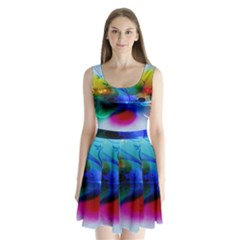 Abstract Color Plants Split Back Mini Dress