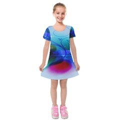 Abstract Color Plants Kids  Short Sleeve Velvet Dress
