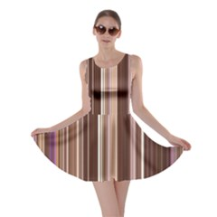 Brown Vertical Stripes Skater Dress