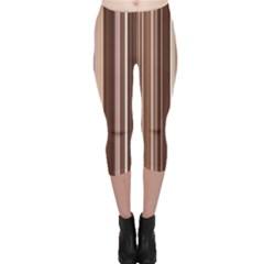Brown Vertical Stripes Capri Leggings