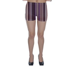 Brown Vertical Stripes Skinny Shorts