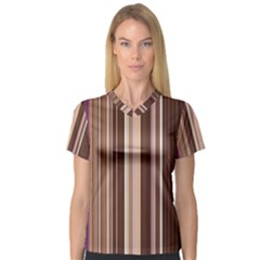 Brown Vertical Stripes Women s V-Neck Sport Mesh Tee