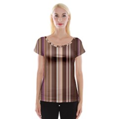 Brown Vertical Stripes Cap Sleeve Tops