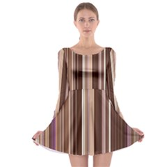 Brown Vertical Stripes Long Sleeve Skater Dress
