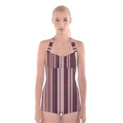 Brown Vertical Stripes Boyleg Halter Swimsuit