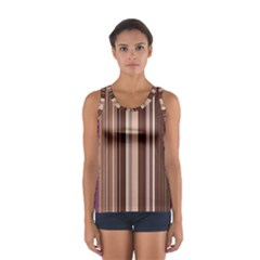 Brown Vertical Stripes Women s Sport Tank Top