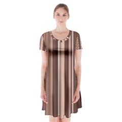 Brown Vertical Stripes Short Sleeve V Neck Flare Dress