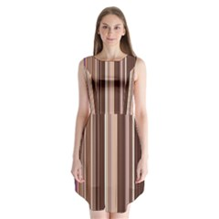 Brown Vertical Stripes Sleeveless Chiffon Dress