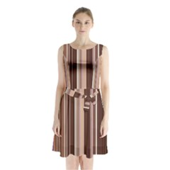 Brown Vertical Stripes Sleeveless Waist Tie Chiffon Dress