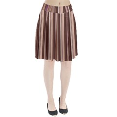 Brown Vertical Stripes Pleated Skirt