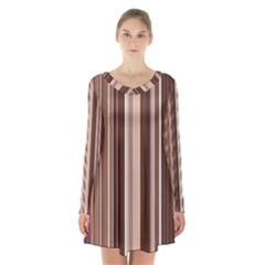 Brown Vertical Stripes Long Sleeve Velvet V Neck Dress