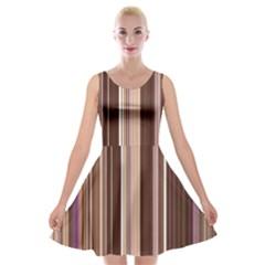 Brown Vertical Stripes Velvet Skater Dress