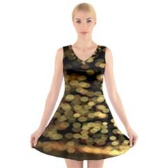 Blurry Sparks V Neck Sleeveless Skater Dress