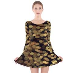 Blurry Sparks Long Sleeve Velvet Skater Dress