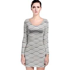 Roof Texture Long Sleeve Velvet Bodycon Dress