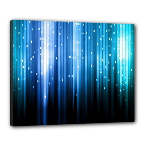 Blue Abstract Vectical Lines Canvas 20  x 16