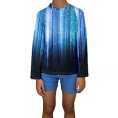 Blue Abstract Vectical Lines Kids  Long Sleeve Swimwear