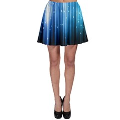 Blue Abstract Vectical Lines Skater Skirt