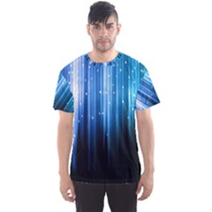 Blue Abstract Vectical Lines Men s Sports Mesh Tee