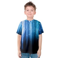Blue Abstract Vectical Lines Kids  Cotton Tee