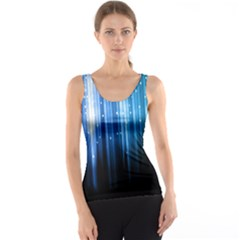 Blue Abstract Vectical Lines Tank Top