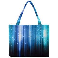 Blue Abstract Vectical Lines Mini Tote Bag