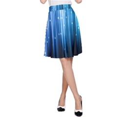 Blue Abstract Vectical Lines A-Line Skirt