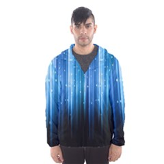 Blue Abstract Vectical Lines Hooded Wind Breaker (Men)