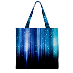 Blue Abstract Vectical Lines Zipper Grocery Tote Bag